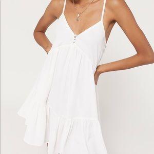UO White Agatha Ruffle Button Front Babydoll Dress